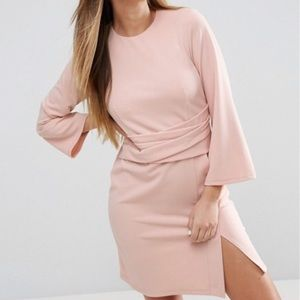 ASOS wrap skirt flute sleeve mini dress